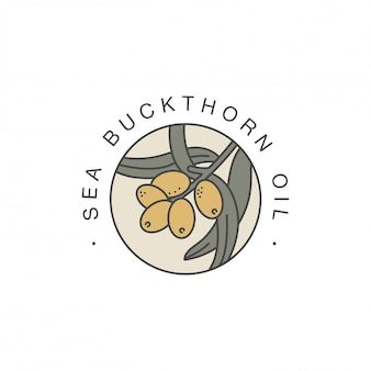 Modello di progettazione ed emblema - olio sano e cosmetico. olio organico naturale di bucthorn. logo colorato in stile lineare alla moda.