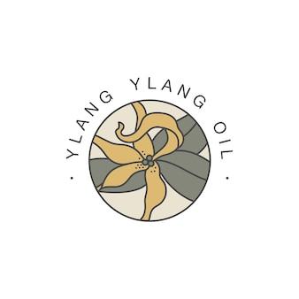 Modello di progettazione ed emblema - olio sano e cosmetico. ylang ylang naturale, olio biologico. logo colorato in stile lineare alla moda.