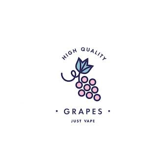 Modello di progettazione logo ed emblema - gusto e liquido per vaporizzatore - uva. logo in stile lineare alla moda.
