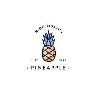 Modello di progettazione logo ed emblema - gusto e liquido per vaporizzatore - ananas. logo in stile lineare alla moda.