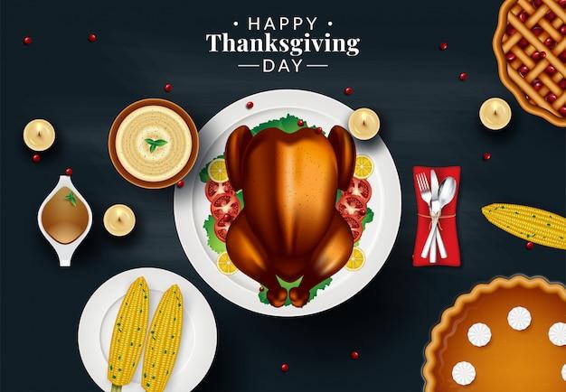 Modello di progettazione per l'invito a cena del ringraziamento. illustrazione vettoriale Vettore Premium
