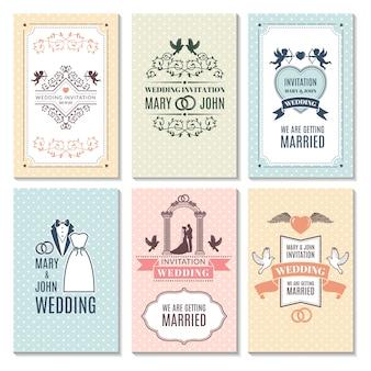 Modello di progettazione di biglietti d'invito a nozze. gli inviti di matrimonio romantici hanno messo l'illustrazione