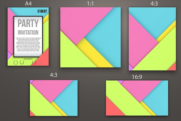Progettazione di modelli di biglietti d'invito, pagine web e presentazioni. stile di design dei materiali. astratto. diversi formati.