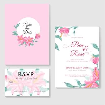 Modelli di design biglietti d'invito foglie e fiori di giglio rosa con un backgr rosa e bianco Vettore Premium