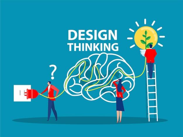 Concetto di pensiero progettuale generazione e implementazione di innovazioni aziendali lampadina per idee commerciali