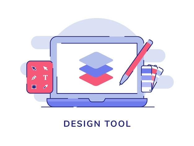 Strumento di progettazione forma di disegno a penna sullo schermo del laptop