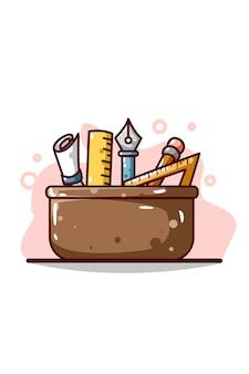 Disegno della mano dell'illustrazione della cassetta degli attrezzi di progettazione