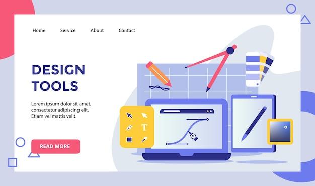 Strumenti di progettazione linea di disegno a penna sul display campagna del computer per la pagina di destinazione della home page del sito web