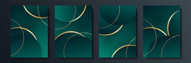 Progettazione di copertine vettoriali minimaliste con forme di linee intersecanti sfumate e geometriche. design banner verde scuro e oro. set di modelli di copertina moderna
