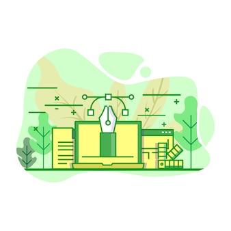 Progetta e vector l'illustrazione moderna di colore verde piano