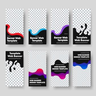 Progettazione di banner web verticali neri con spazio per foto e forme ondulate di colore. modelli di dimensioni standard per affari e pubblicità. illustrazione. impostato