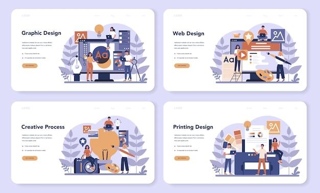 Progettazione di set di pagine di destinazione web. grafica, web, design di stampa. disegno digitale con strumenti e apparecchiature elettroniche. concetto di creatività. illustrazione piatta vettore