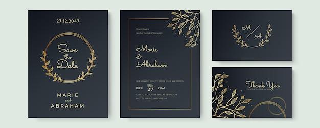 Insieme del modello dell'invito di nozze di progettazione. gli elementi di trama floreale dorata e le cornici dorate su sfondo nero sono disegnati a mano