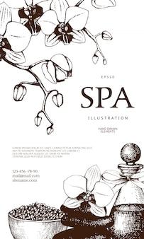 Progettare con l'illustrazione disegnata a mano della stazione termale isolata su bianco. sfondo di schizzo di bellezza con cosmetici naturali. modello vintage con elementi esotici ed a base di erbe.