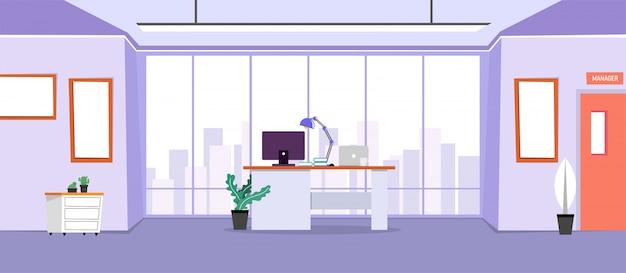 Il design di un posto di lavoro, un ufficio moderno, un'area di lavoro creativa con grandi finestre, illustrazione di mobili interni in design piatto, banner del sito web