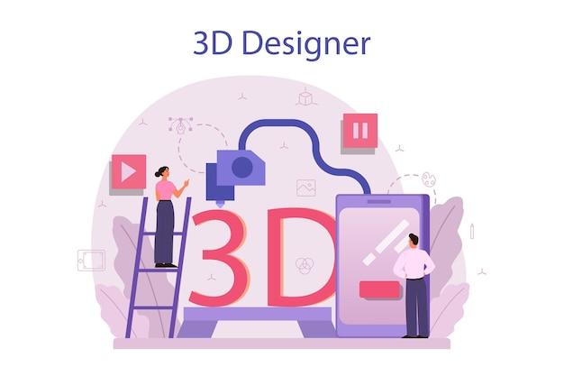 Designer concetto di modellazione 3d. disegno digitale con strumenti elettronici