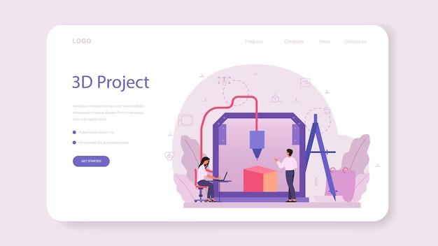 Designer banner web di modellazione 3d o pagina di destinazione