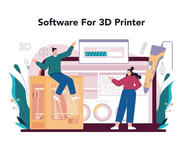 Piattaforma o servizio online designer 3d. disegno digitale. stampante 3d