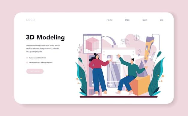 Banner web 3d o pagina di destinazione del designer. disegno digitale con strumenti e apparecchiature elettroniche. ingegneria della stampante 3d, prototipazione moderna e costruzione. illustrazione vettoriale piatta