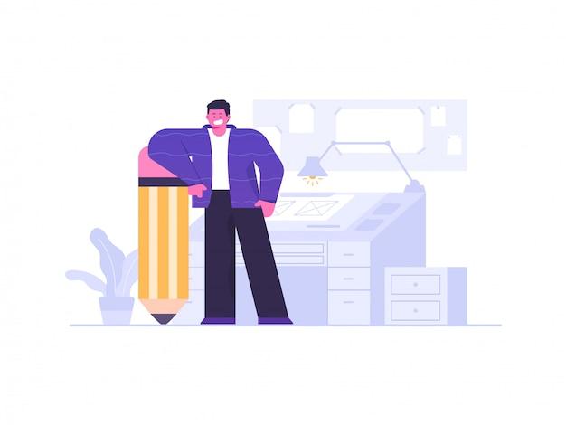 Illustrazione di concetto sul posto di lavoro dell'artista e del progettista