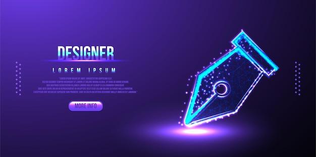 Designer, sfondo wireframe basso poligonale penna poligonale