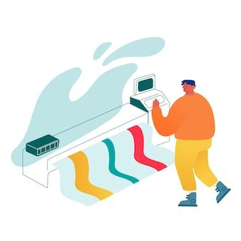Designer che utilizza macchina da stampa offset widescreen, stampa banner uomo su stampante laser multifunzione.