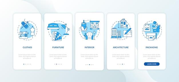 Schermata della pagina dell'app mobile onboarding del designer con concetti impostati. procedura dettagliata di decorazione dell'appartamento 5 passaggi istruzioni grafiche. modello vettoriale dell'interfaccia utente con illustrazioni a colori rgb