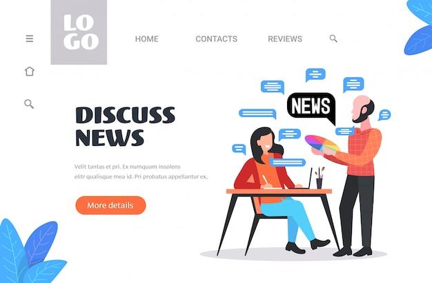 Coppia di progettisti in chat durante la riunione discutendo il concetto di comunicazione bolla chat notizie quotidiane. illustrazione orizzontale dello spazio della copia integrale
