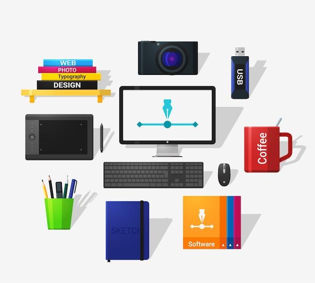 Icone degli strumenti di designer in stile piano e lunga ombra. stile piatto dettagliato.