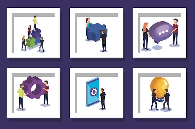 I disegni hanno impostato il lavoro di squadra con persone e icone