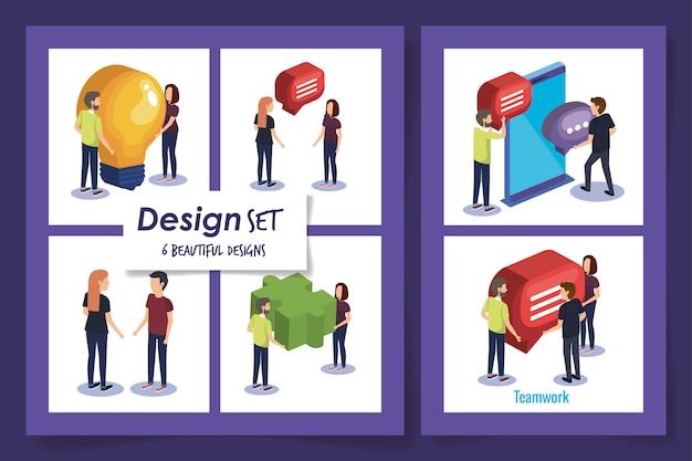 Disegni di lavoro di squadra con persone e icone