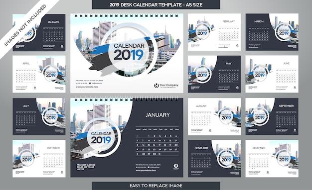 Modello di calendario da tavolo 2019