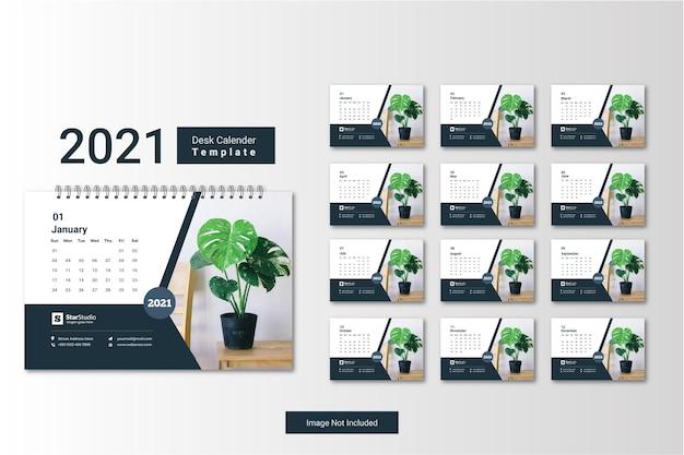 Calendario da tavolo 2021 modello creativo minimo di progettazione