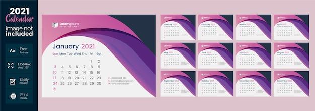 Calendario da tavolo 2021 con layout astratto rosa