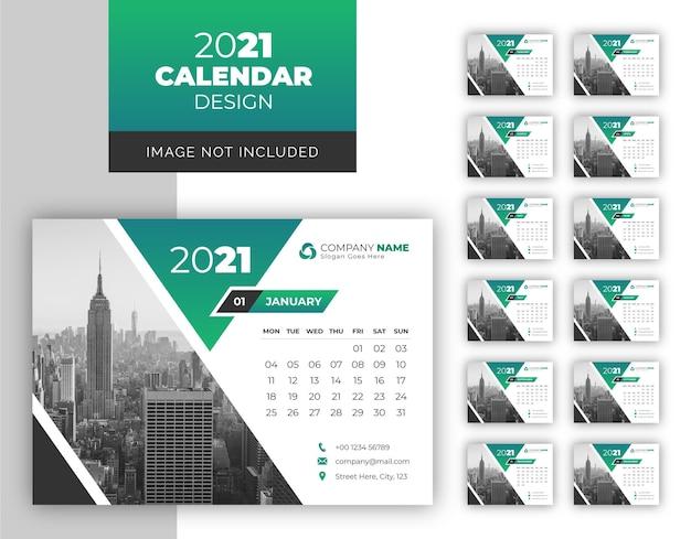 Calendario da tavolo 2021 Vettore Premium