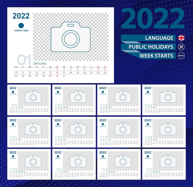 Calendario da tavolo 2022, griglia di 2 settimane in inglese. posto per foto per illustrazione.