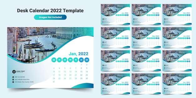 Modello di calendario da tavolo 2022