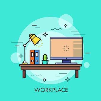Scrivania con personal computer, lampada, cartelle di carta e cactus in vaso su di essa. luogo di lavoro, piano di lavoro, home office, concetto di freelance. Vettore Premium