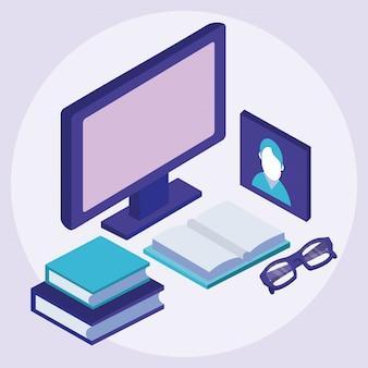 Tecnologia online per l'istruzione di libri e libri