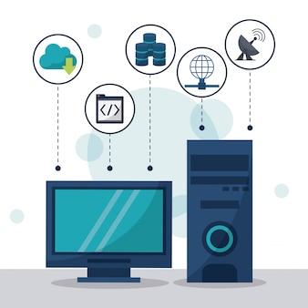 Desktop computer in primo piano e icone di archiviazione di rete