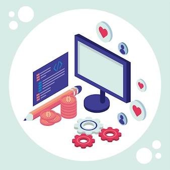 Desktop e attrezzi con l'illustrazione delle icone dell'insieme isometrico di media sociali