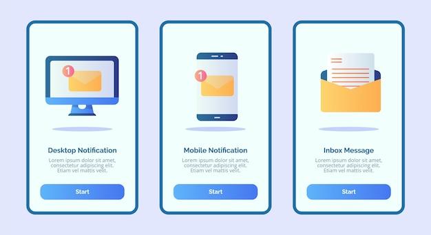 Messaggio di posta in arrivo di notifica mobile di notifica desktop