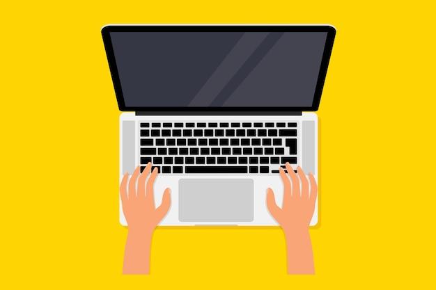 Desktop, vista dall'alto. computer portatile. taccuino del computer con lo schermo vuoto. computer portatile e mani sulla tastiera. mani umane utilizzando il computer. processo di lavoro di illustrazione vettoriale, lavorando al computer