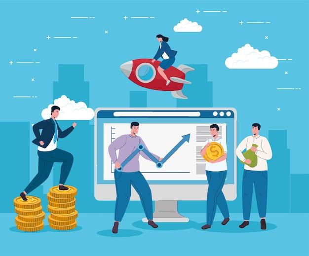 Desktop con freccia statistiche di sollevamento uomo e uomini d'affari