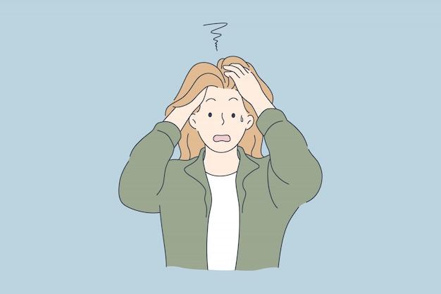 Disperazione, frustrazione, depressione, concetto di stress mentale.