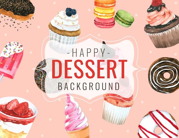 Acquerello disegnato a mano del fondo del dessert per progettazione
