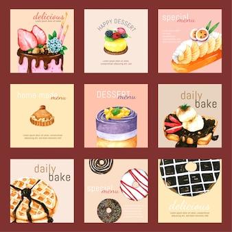 Acquerello disegnato a mano dell'insieme di carta del dessert per progettazione