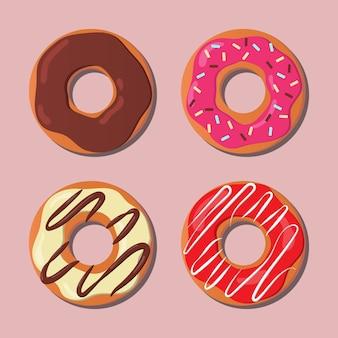 Set di ciambelle colorate concetto di dessert