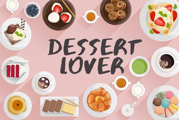 Illustrazione di cibo da dessert in illustrazione vettoriale vista dall'alto