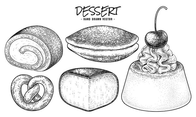 Insieme decorativo di vettore di schizzo disegnato a mano del dessert